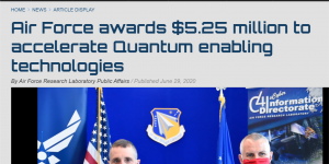 Col. Timothy Lawrence, director of AFRL's Information Directorate, and Dr. Michael Hayduk, deputy director, participate in a first-of-its-kind virtual quantum collider pitch event June 15-16, from Rome, N.Y.