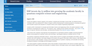 NSF invests $9.75 million into growing the academic faculty in quantum computer science and engineering