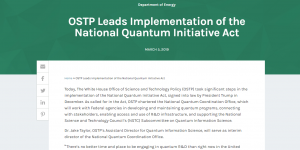 OSTP Leads Implementation of the National Quantum Initiative Act