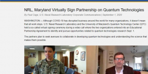 NRL, Maryland Virtually Sign Partnership on Quantum Technologies