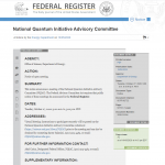 Notice of Meeting for the National Quantum Initiative Advisory Committee
