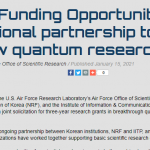 AFOSR Funding Opportunity: International partnership to spark bold new quantum research