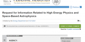 Request for Information Related to High Energy Physics and Space-Based Astrophysics