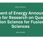 DOE Announces $11 Million for Research on QIS for Fusion Energy Sciences