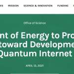 Department of Energy to Provide $25 Million toward Development of a Quantum Internet