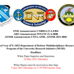 DOD releases funding announcement for FY2022 MURIs, several focused around QIS