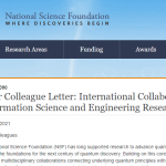 NSF Releases Dear Colleague Letter for International Collaboration and QISE