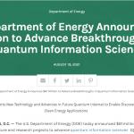 DOE Announces $61 Million to Advance Breakthroughs in QIS